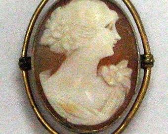Vintage Edwardian Gold Filled Shell Cameo Pendant or Brooch