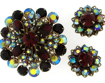 Vintage Retro Ruby Red and Irridescent Rhinestone Brooch and Earring Parure