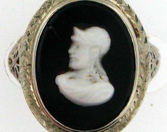 Vintage Art Deco Filigree White Gold Cameo Ring
