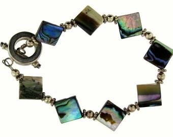Fresh Lively Abalone Shell Sterling Silver Bracelet