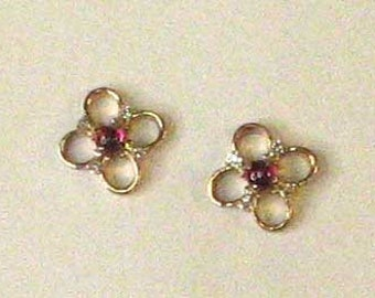 14K Rose Gold Ruby Cabochon and Diamond Flower Earrings