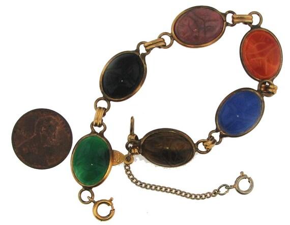 Vintage Egyptian Revival Scarub Bracelet