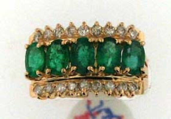 DEEP BLUE GREEN Emerald and Diamond Ring