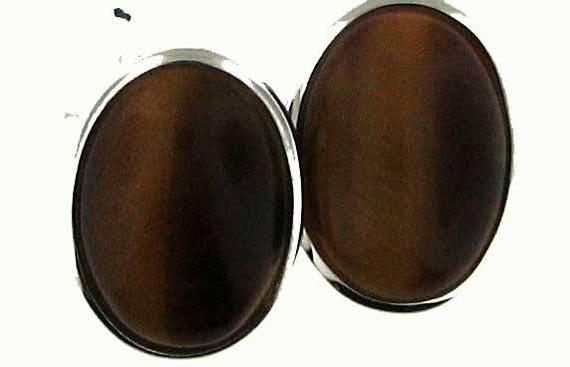 Sterling Silver Tiger Eye Cabochon Earrings