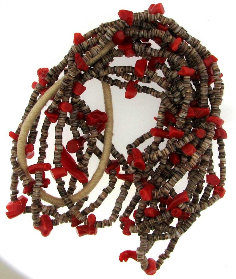 Vintage Coral Multi-Strand Southwestern Necklace