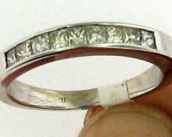 PRINCESS CUT DIAMONDS 18K White Gold Channel Set Diamond Ring