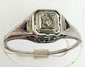 MUST GO  Art Deco White Gold Diamond Engagement Ring with Sapphires