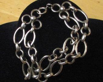 Vintage Sterling Silver Large Link Bracelet