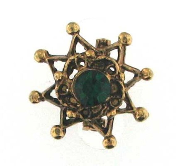 WELL MADE Gold Tone Scatter Pin with Green Stone