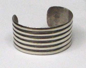 HEAVY STERLING SILVER Banded Cuff Bracelet