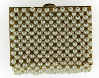 Vintage Retro Gold Tone Faux Pearl Covered Box