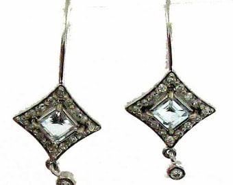 White Gold Aquamarine and Diamond Earrings