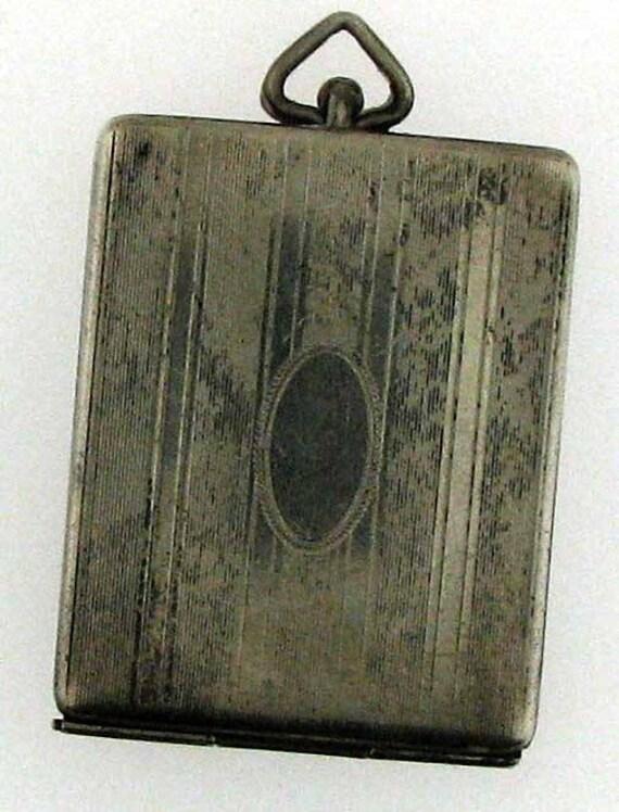 Vintage Art Deco Rectangular Locket for Watch Chain