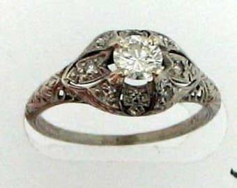 VINTAGE PLATINUM EDWARDIAN Diamond Engagement Ring