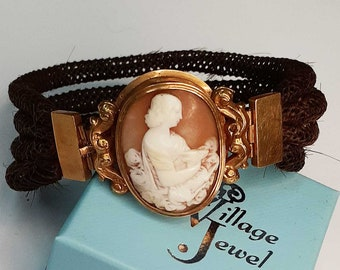 Vintage Victorian Hair Cameo Memento Mori Mourning Bracelet with Gold