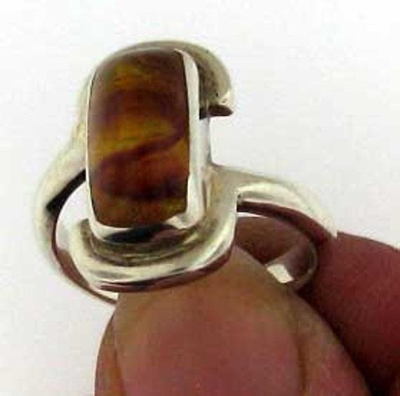 Fun Modern Sterling Silver Amber Ring