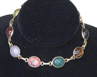 Vintage Gold Filled Egyptian Revival Gemstone Scarub Bracelet