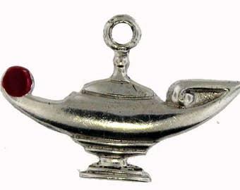Vintage Sterling Silver Genie Lamp Pendant Charm