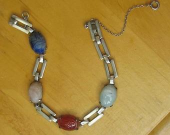 Vintage Sterling Silver Scarub Bracelet with Gemstones