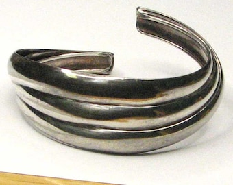 Sterling Silver Scalloped Banded Cuff Bracelet