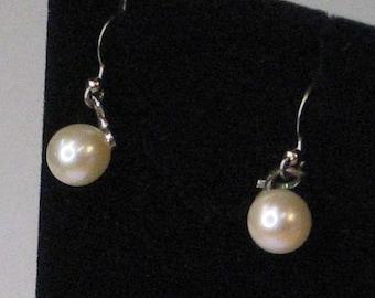 Sterling Silver Pearl Dangle Drop Earrings