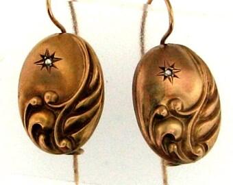 Vintage Early Edwardian Gold Dangle Earrings - All Original