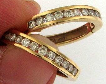 Classic Yellow Gold Diamond Hoop Earrings