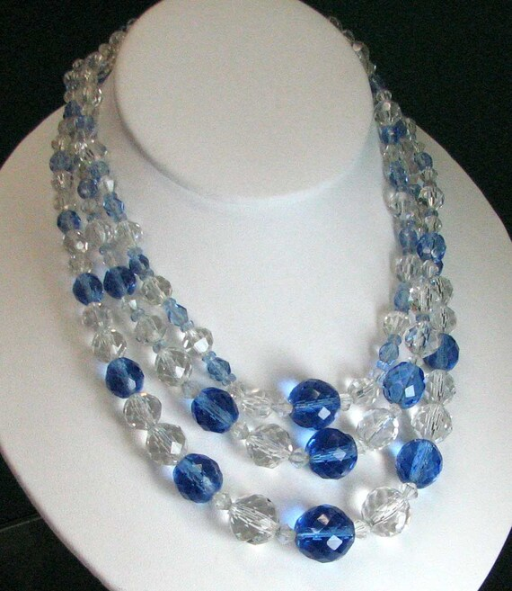 Vintage Chech Glass Blue and Colorless Triple Strand Necklace