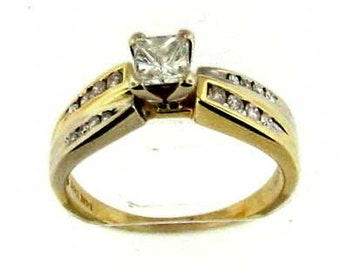 Vintage Yellow Gold Engagement Ring with Square Modified Brilliant Cut Diamond Center