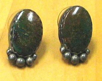 Sterling Silver Green Turquoise Pierced Earrings