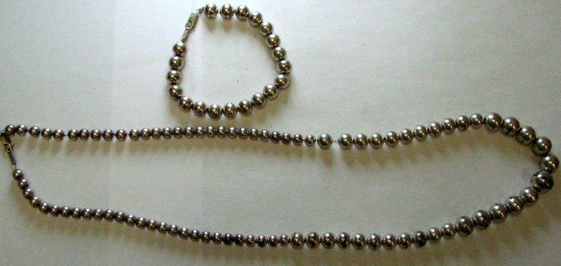 Sterling Silver Long Graduated Ball Necklace and Bracelet Set
