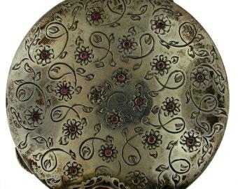 Vintage Italian Peruzzi Brothers Silver and Natural Gemstone Powder Compact
