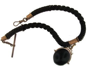 Vintage Victorian Chestnut Brown Hair Watch Chain with Tagua Nut Fob