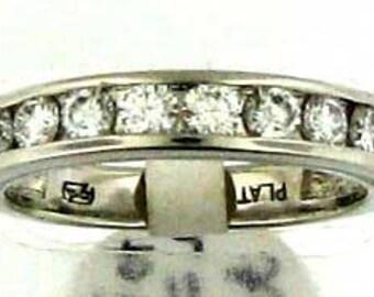ABSOLUTELY FAB DIAMONDS Modern Platinum Channel Set Diamond Wedding Band 3/4 Carat Total Weight