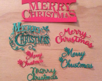 12 Merry Christmas Words, Handmade, 6 Red, 6 Green, 6 Different Christmas Words, Sizzix