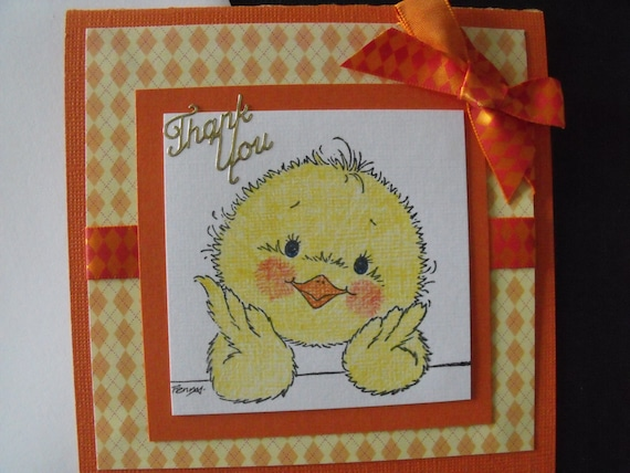 Handmade Thank You Greeting Card Yellow Little Chick Burnt Etsy