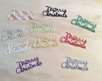10 Christmas MERRY CHRISTMAS Words, Handmade, Sizzix, Die Cuts, Variety of Colors, Cardstock, Cards, Scrapbooking