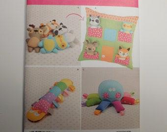 Simplicity Pattern 8156 Pillow w//Pocket Animals~Stuffed Caterpillar~Octopus Toy