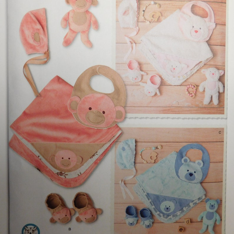 Baby Accessories, Bib, hat, toy, blanket and booties, Sewing Pattern  Simplicity 8623 Monkeys, Lambs and Teddy Bears