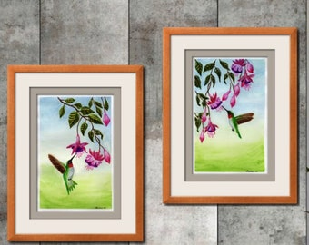 Watercolor Painting to Print, Pair of Hummingbirds in Fuchsia Flowers Set of 2 Prints, Wall Decor, Sizes 8x10 and up