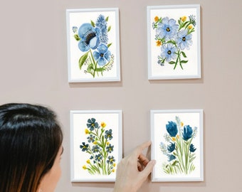 SET of 4 Prints, Watercolor Floral Painting Reprint,  Wall Art, 5x7 and up