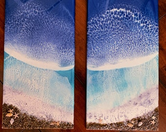 Pair of Ocean Waves Resin Painting, Original Artwork - 3D, Seascape With Sand and Seashells