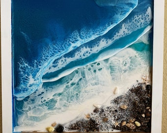 Ocean Waves Resin Painting, 3 Wave layers, Seascape, Sand, Shells, 3D - Tropical Sea Blue -12x12 Square