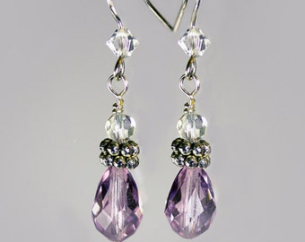 Sterling Silver, Purple Amethyst Swarovski Crystal Earrings, Crystal Beads, Pewter Beads, Sterling Silver French Ear Wires