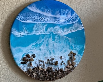 """Resin Painting, Ocean Waves, Original Waves Resin Painting - 3D, Seascape With Sand and 4 Wave Layers - Tropical Sea Blue - 12"""" Round"""