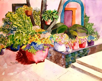 """Watercolor print, wall decor, """"Flowers on the Porch"""" Sizes 8x10 and up"""