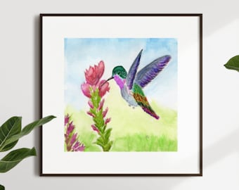 """Watercolor print, Wall Decor, """"Colorful Hummingbird"""" Sizes 5x7 and up"""