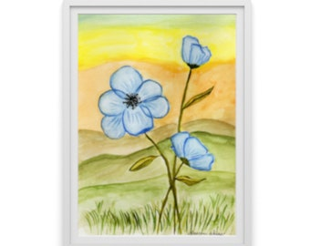 """Watercolor print, wall decor, """"Flowers and Mountains"""" Sizes 5x7 and up"""