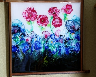 Acrylic Painting, Acrylic Pour, Art, Original, Resin Finish, Floral painting, Flowers