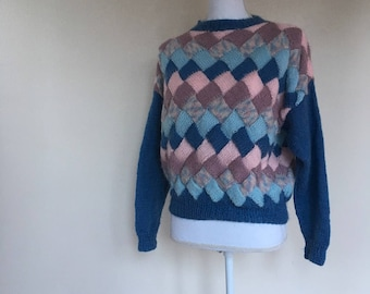 salvation armani vintage sweater - patchwork sweater - knit sweater - handmade sweater - basket weave knit sweater - hand knit - womens